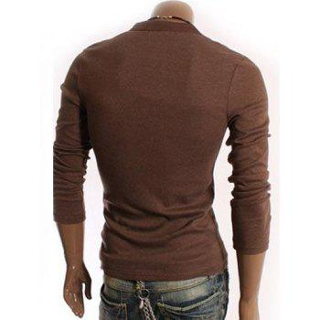 V-Neck Long Sleeve Half Button Embellished T-Shirt - COFFEE COFFEE