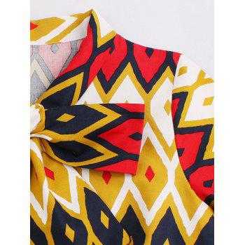 Retro Bow Tie High Waisted Printed Dress - GINGER 2XL