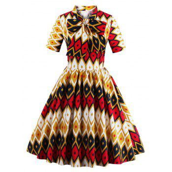 Retro Bow Tie High Waisted Printed Dress - GINGER GINGER