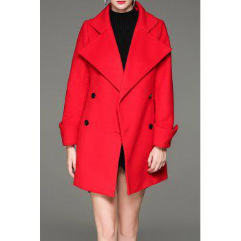 Turn Down Collar Double Breasted Coat - RED S