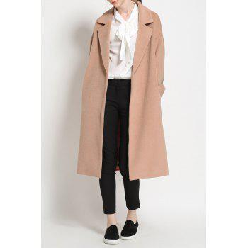 Maxi Open Front Wool Blend Coat