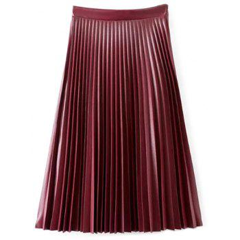 Accordion Pleat PU Leather Skirt