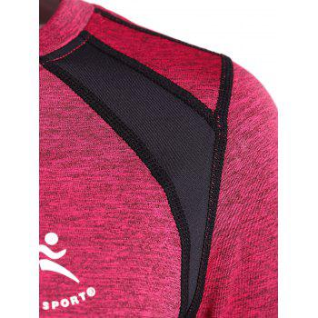 Color Block Heather Running T-Shirt - ROSE RED ROSE RED