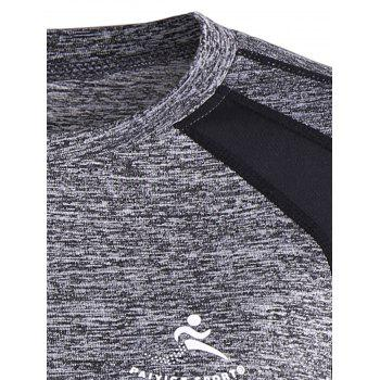 Color Block Heather Running T-Shirt - GRAY S