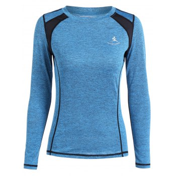 Color Block Heather Running T-Shirt - AZURE AZURE