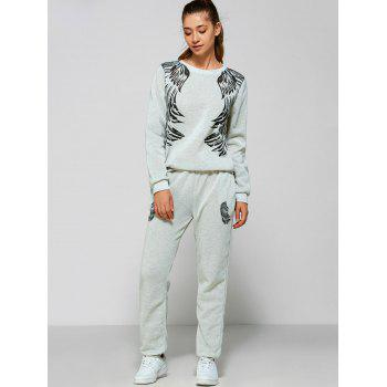 Wings Print Sweatshirt and Pants
