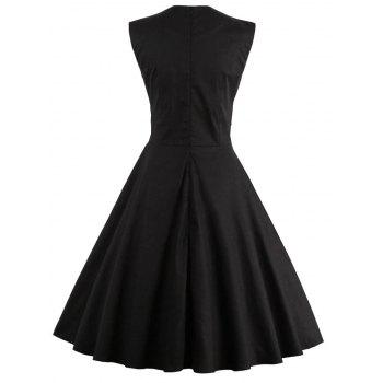 Polka Dot Semi Formal Midi Skater Dress - BLACK M