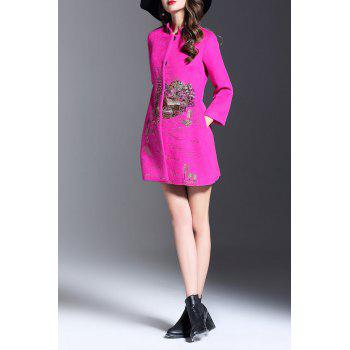 Embroidered Single Breasted Coat - ROSE MADDER M