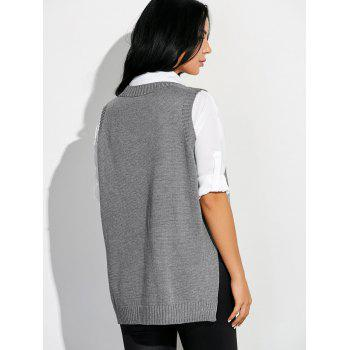 High Low Sweater V Neck Vest - GRAY GRAY