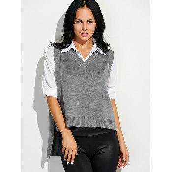 High Low Sweater V Neck Vest - GRAY ONE SIZE