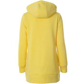 Zipper design Raglan manches Sweat à capuche - Jaune M