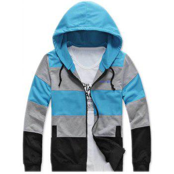 Color Striped Zip Up Hoodie