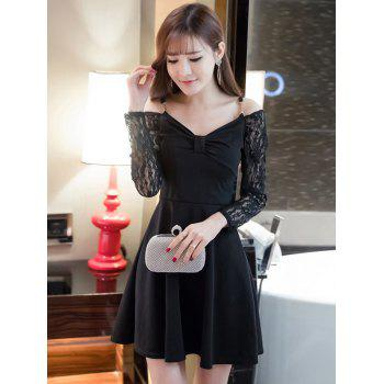 dresslily Cold Shoulder Lace Splicing Swing Dress