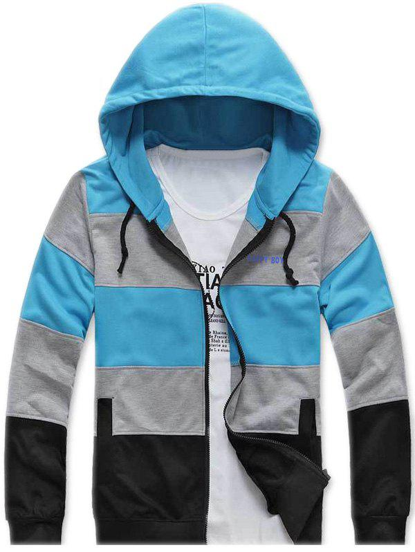 Side Pocket Color Striped Zip Up Hoodie - Azur 2XL