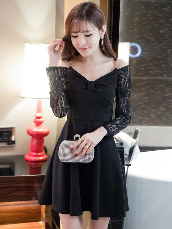 Cold Shoulder Lace Splicing Swing Dress stylish dragon shaped alloy iron windproof gas lighter golden