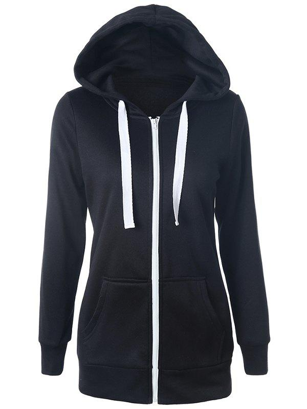 Casual Drawstring Long Sleeve Zipper Up Hoodie - BLACK S