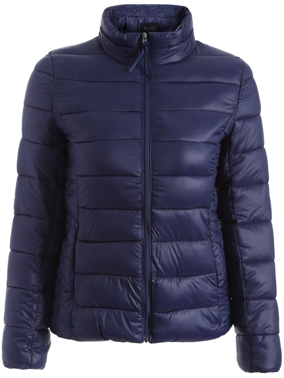 Zip Up Slim Quilted Jacket - PURPLISH BLUE 3XL
