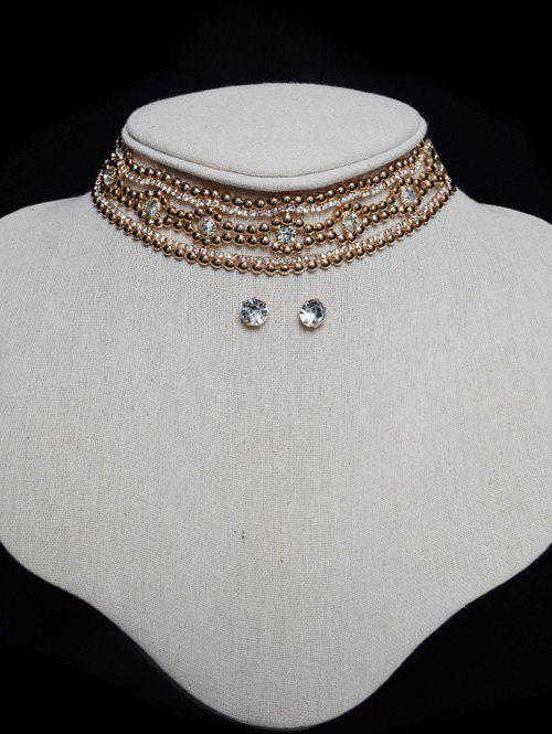 Tiered Rhinestone Floral Choker Set - Or