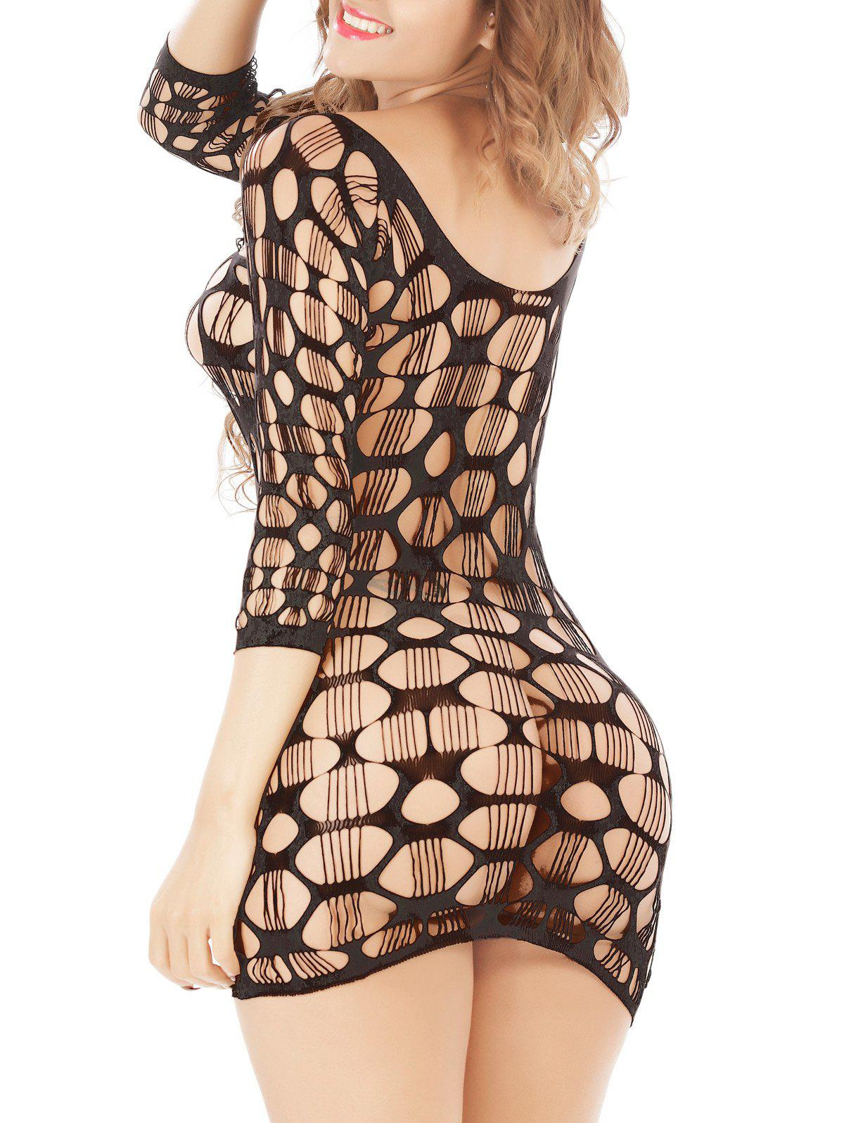 Crochet See Through Lace Dress Tight - Noir ONE SIZE