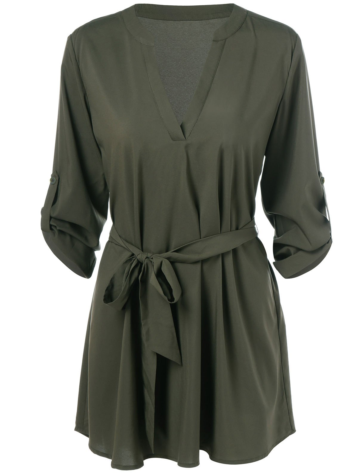 Adjustable Sleeve Dress With Belt - ARMY GREEN M