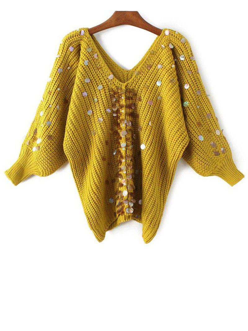 2018 V Neck Sequins Faux Pearl Pullover Sweater YELLOW ONE SIZE In ...