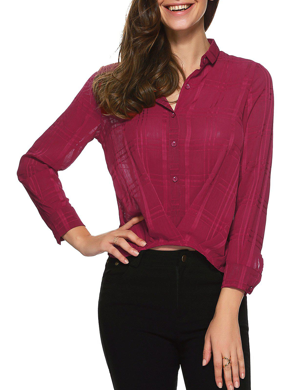 Plaid Wrap Chiffon Button Down Crop Shirt - WINE RED 3XL