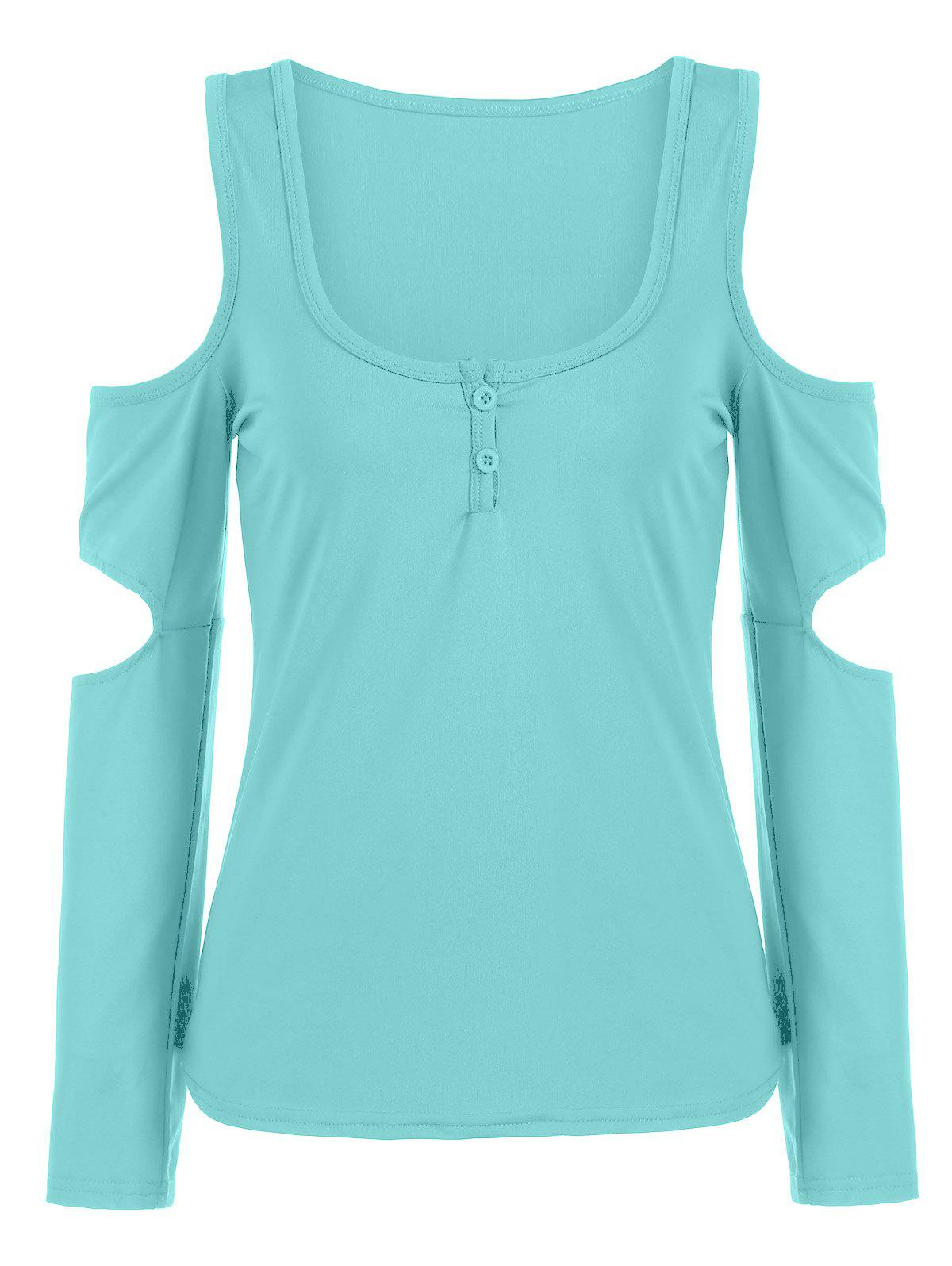 Cold Shoulder T-shirt col U - Tiffany Bleu M