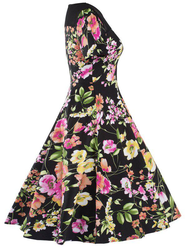 Knee Length Mesh Floral Vintage Dress - BLACK S