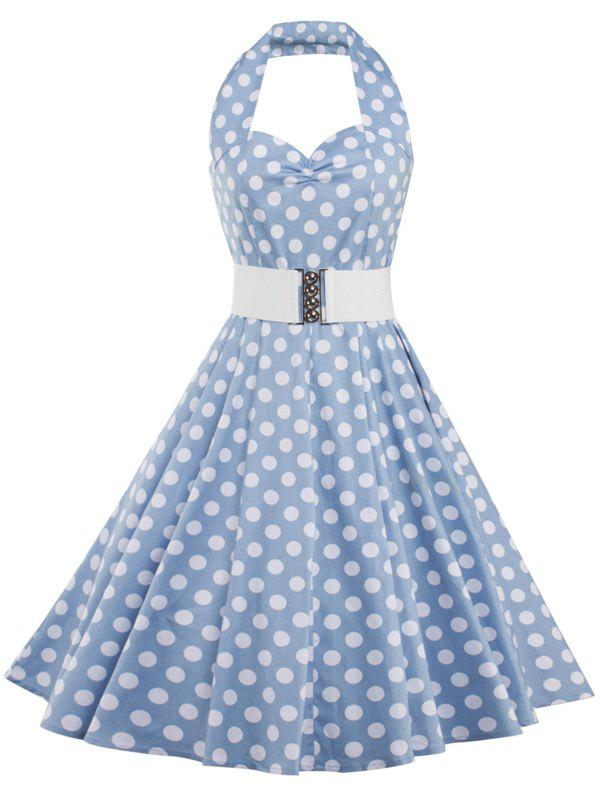 Polka Dot Halter Vintage Dress - AZURE XL