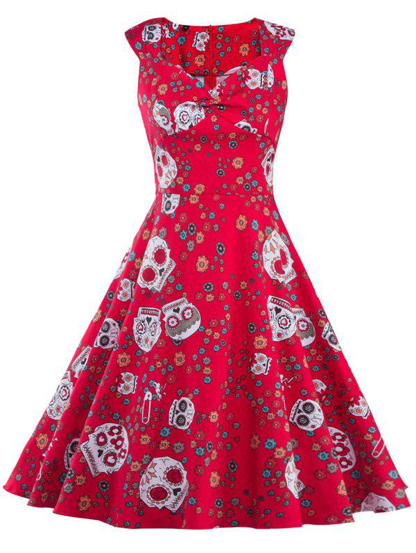 Vintage Print Fit and Flare Dress - RED L