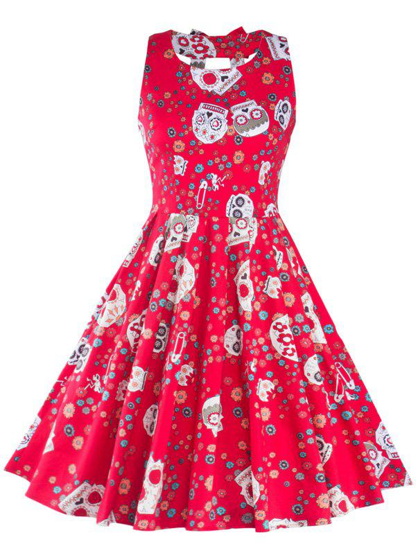 Vintage Print Cut Out Fit and Flare Dress - RED L