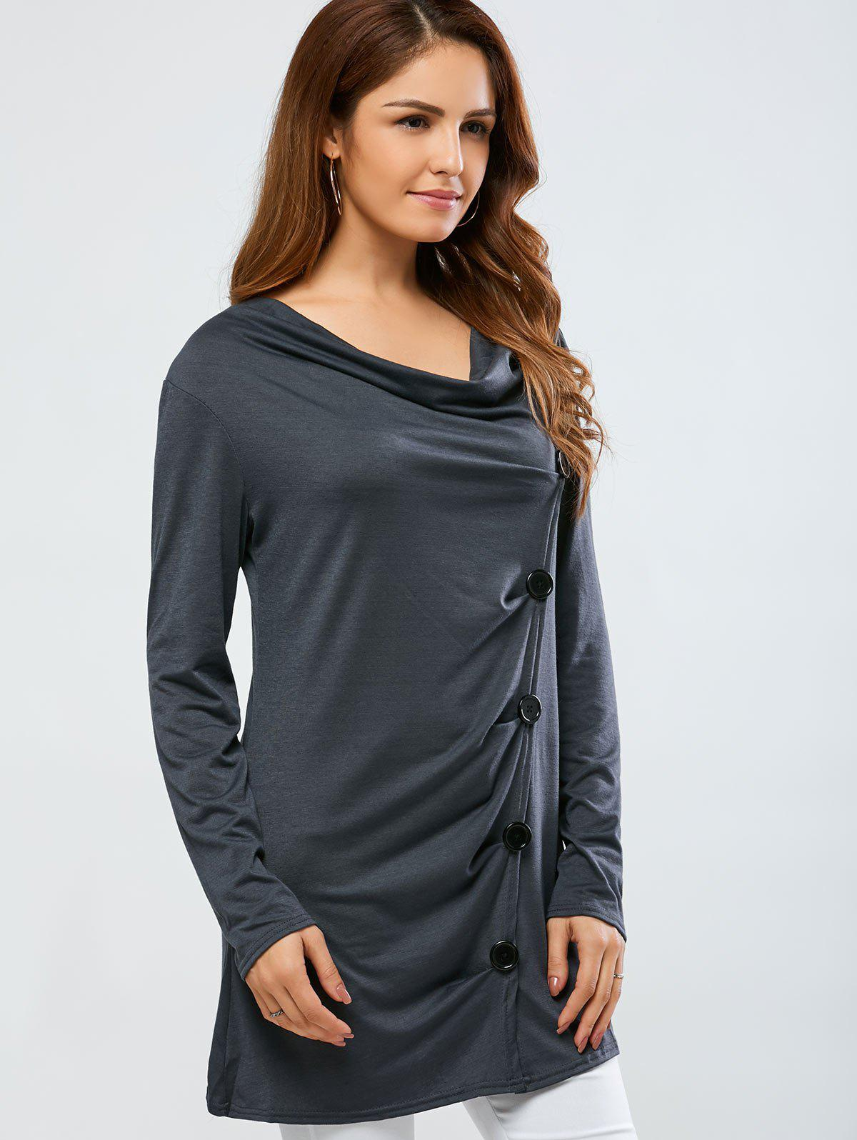 Cowl Neck One Breasted T-Shirt - GRAY M