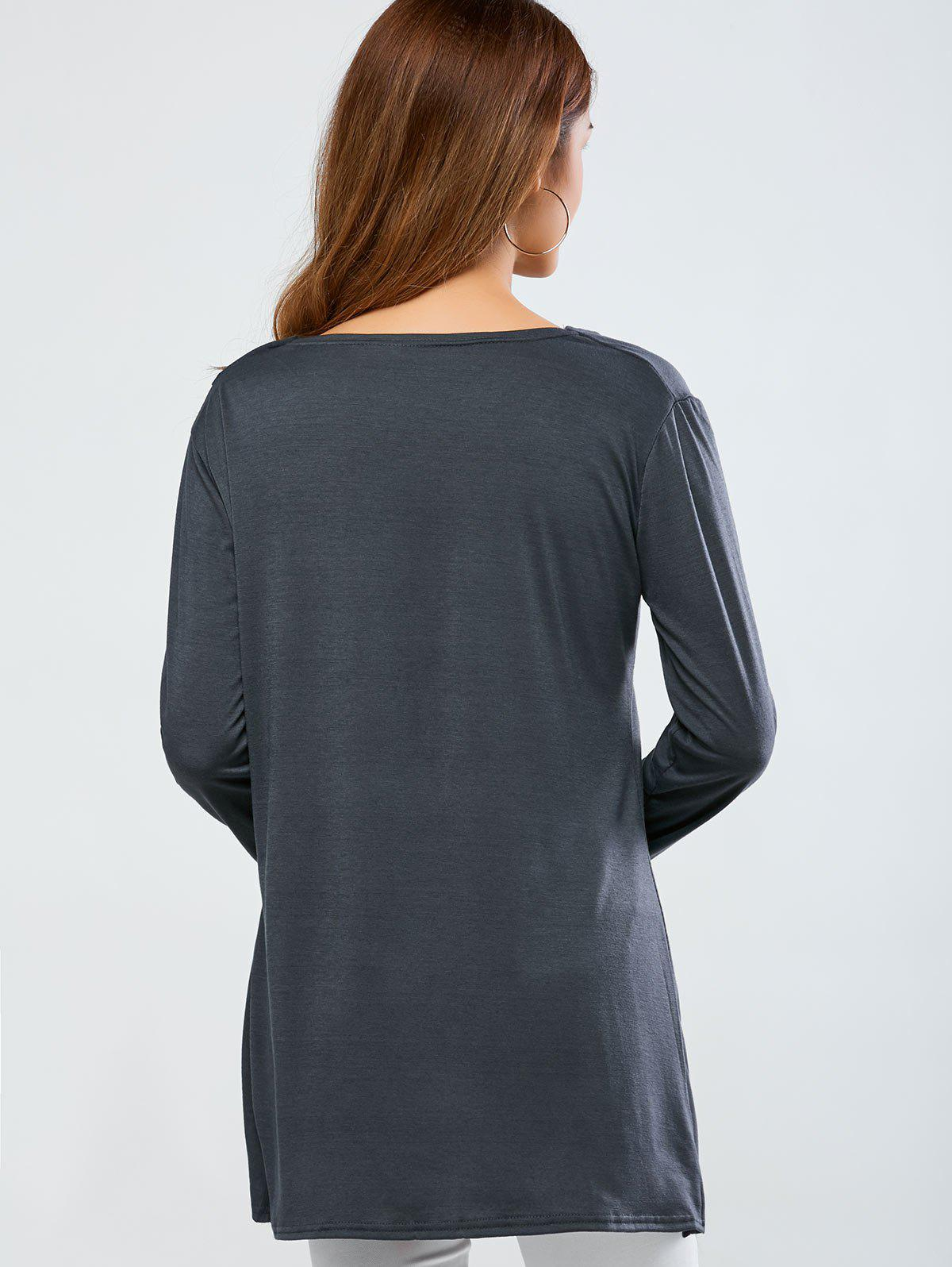 Cowl Neck One Breasted T-Shirt - GRAY 2XL