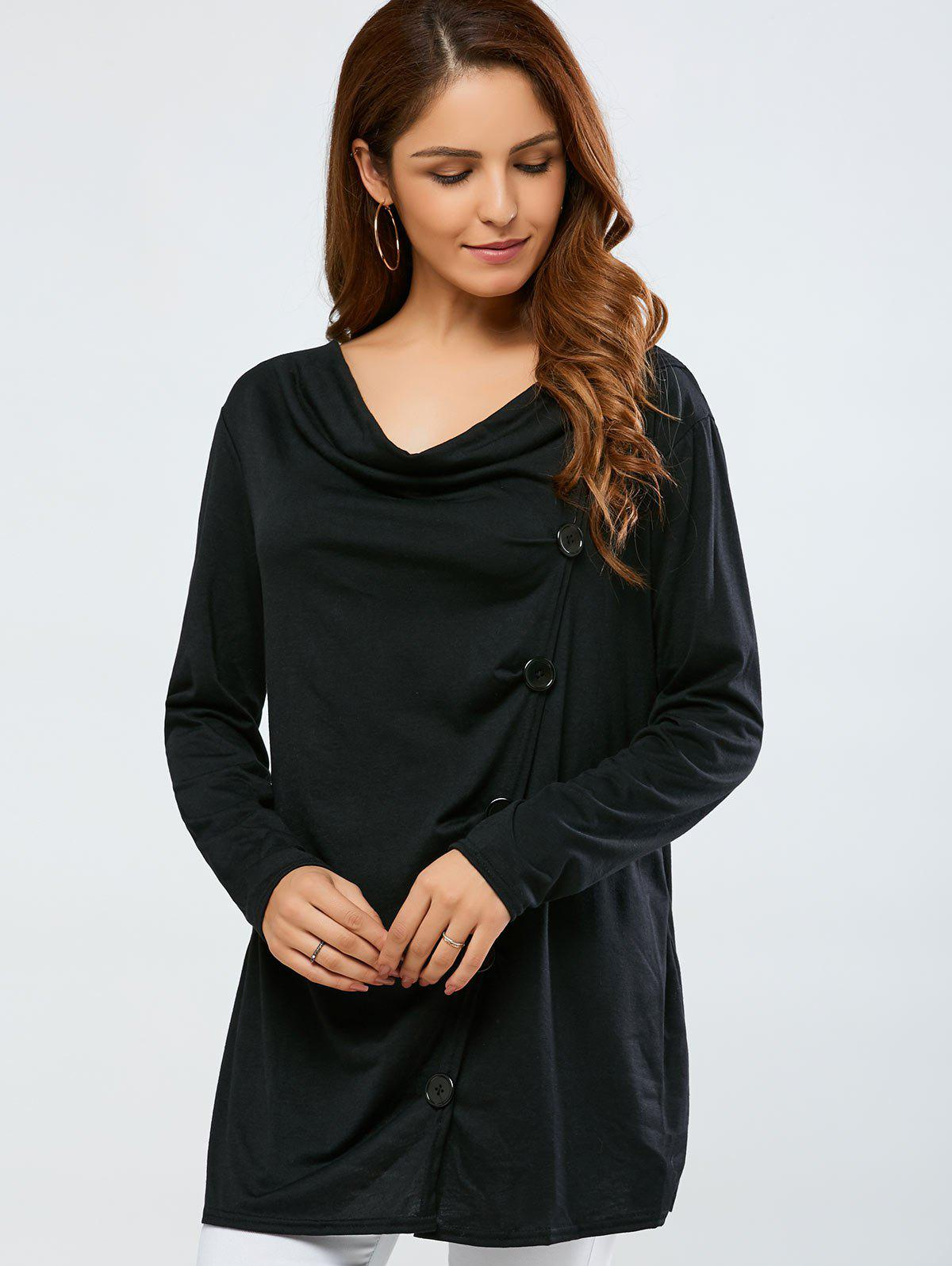 Cowl Neck One Breasted T-Shirt - BLACK XL
