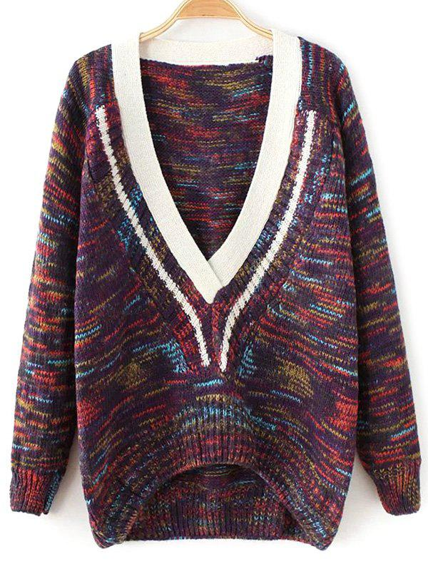 Plunging Neck Space-Dyed Sweater - PURPLE ONE SIZE