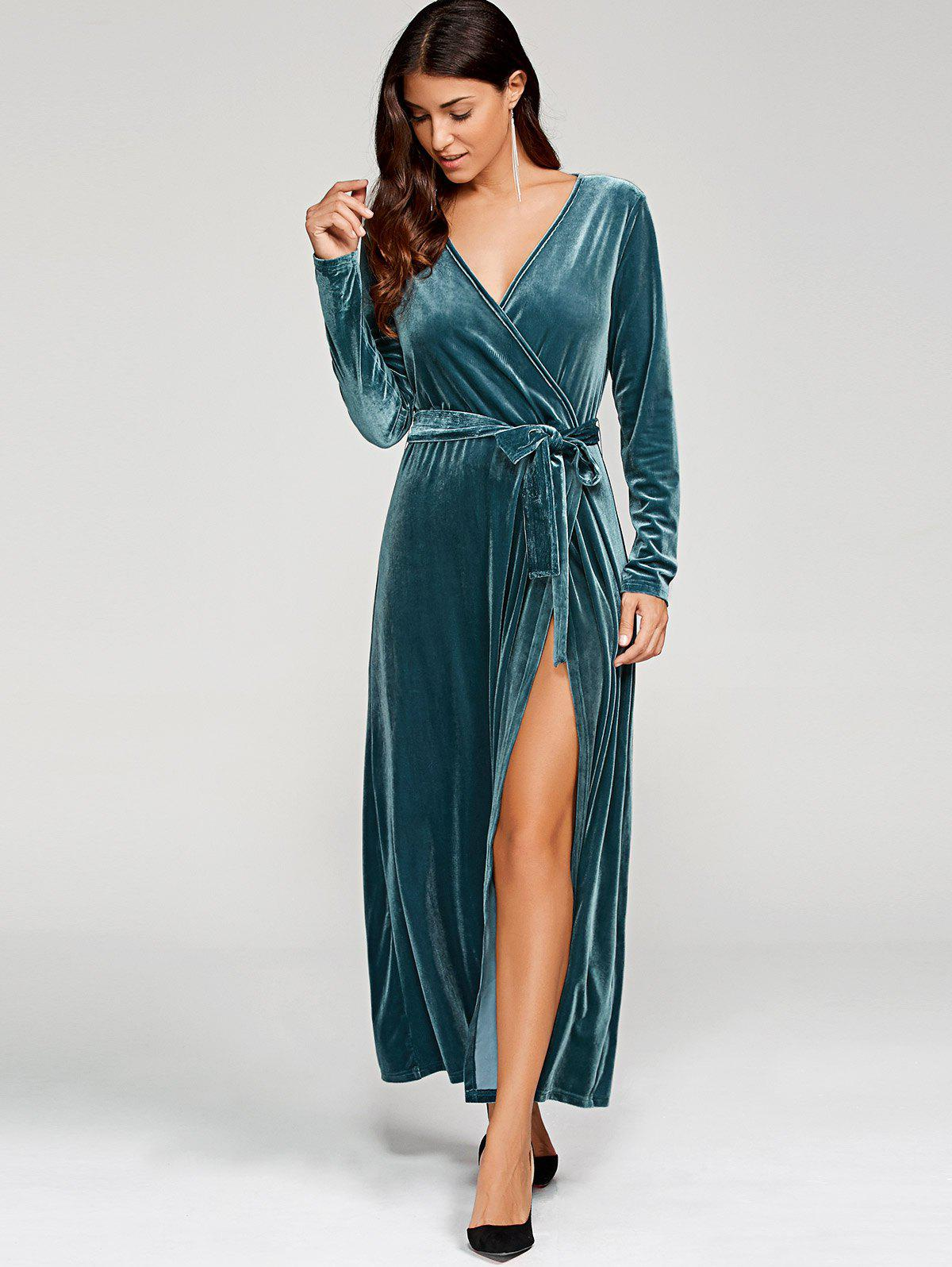 Long Sleeve Velvet Knot Wrap Maxi Dress - PEACOCK BLUE XL