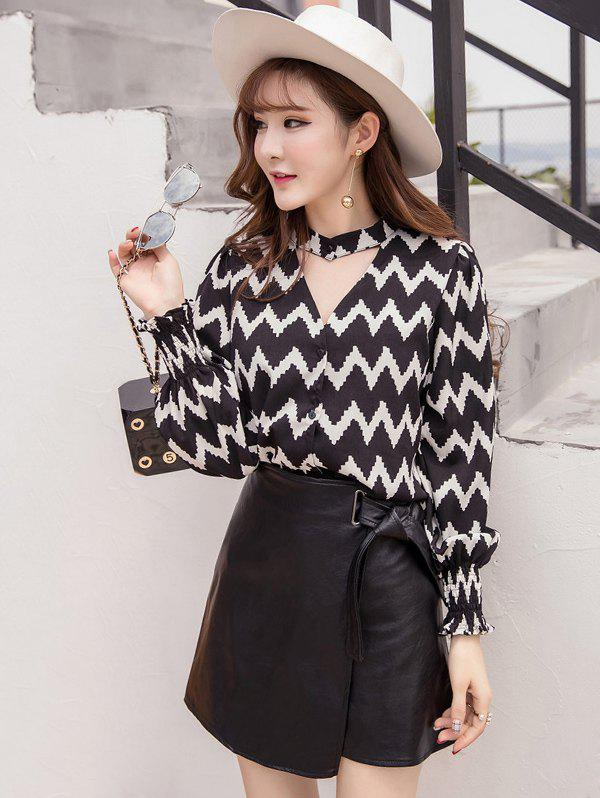 Zigzag Choker Neck Top and PU Skirt - BLACK L