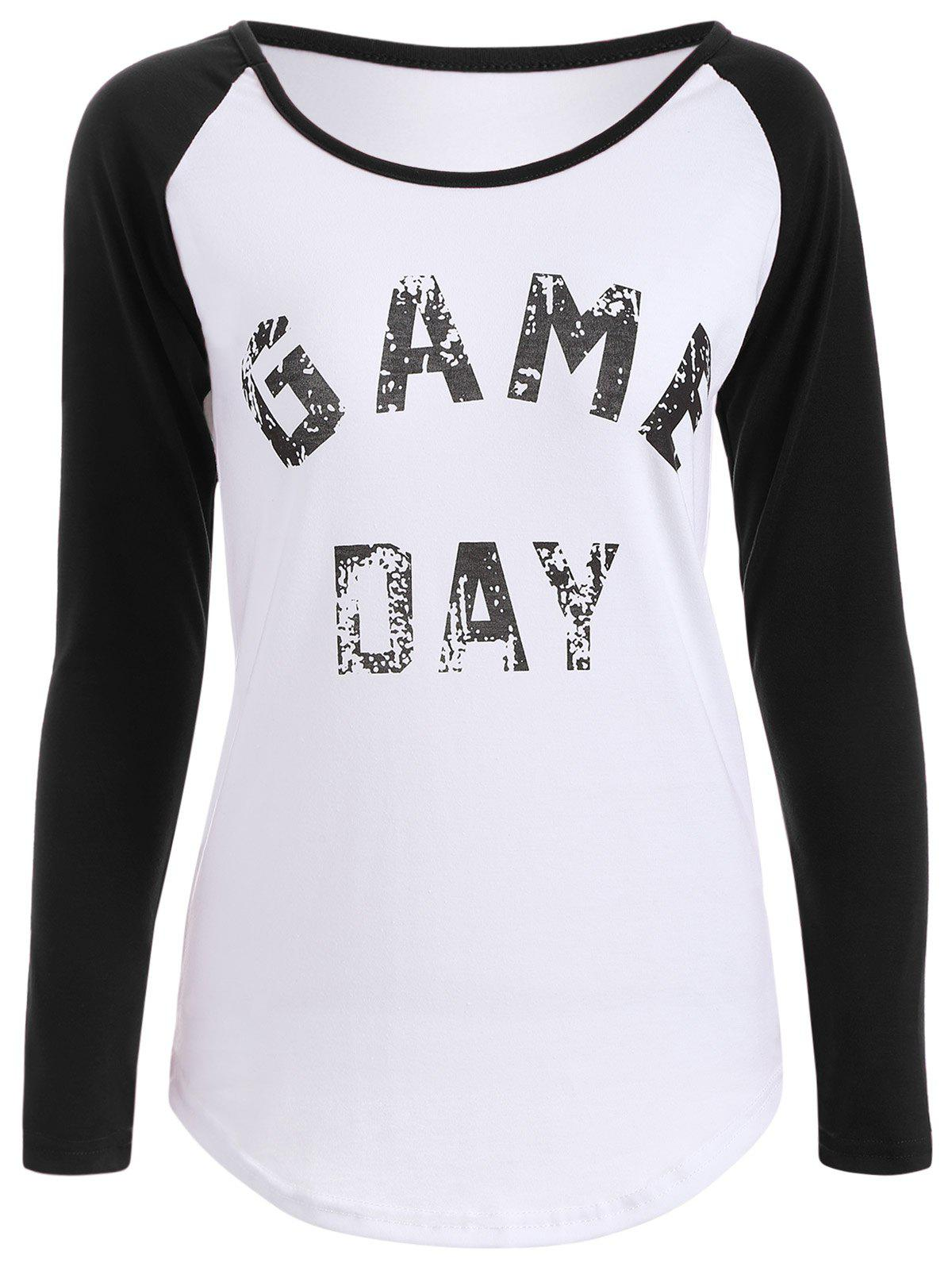 Game Day Print Baseball T Shirt - BLACK M