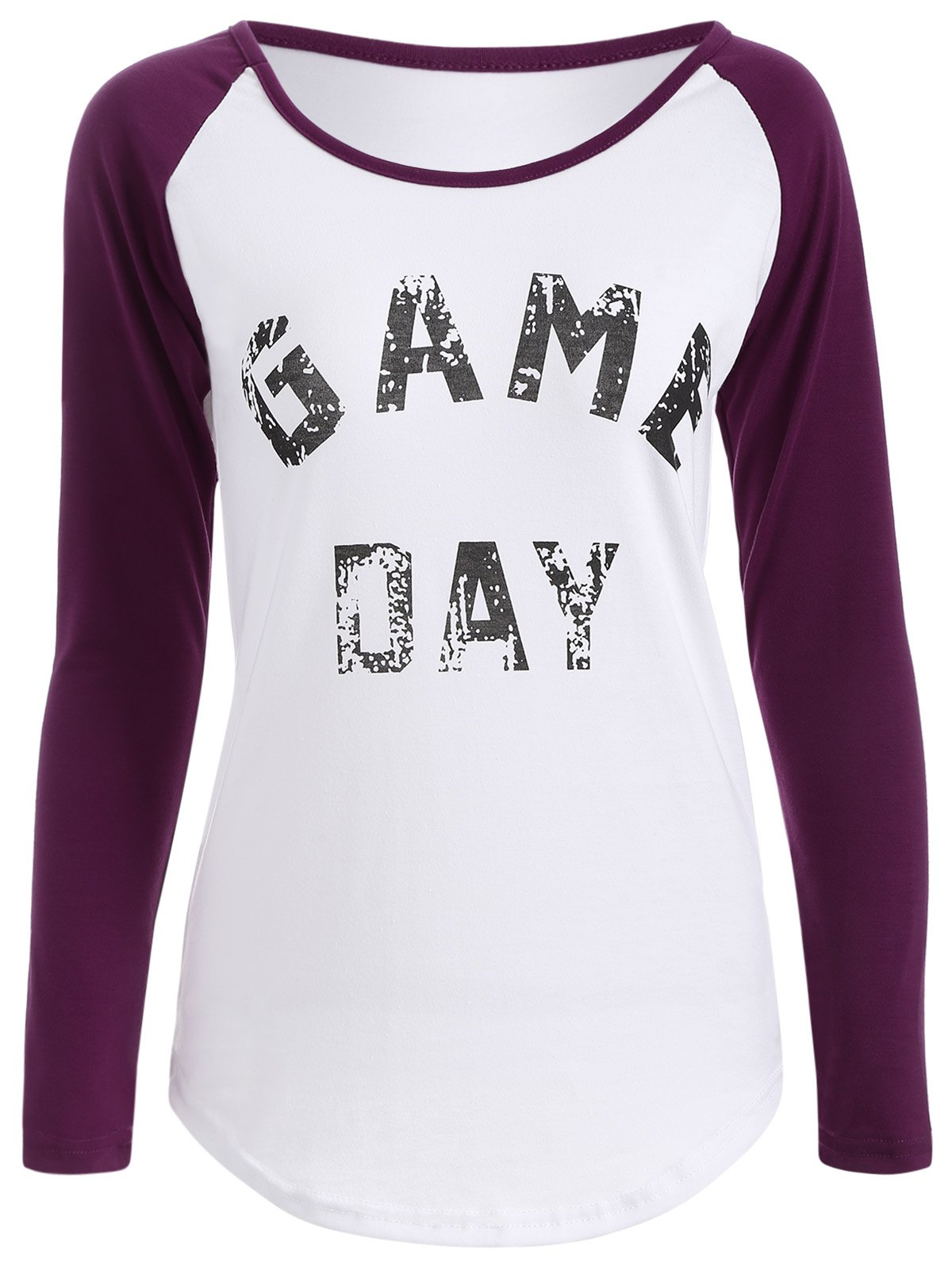 Game Day Print Baseball T Shirt - PURPLE XL