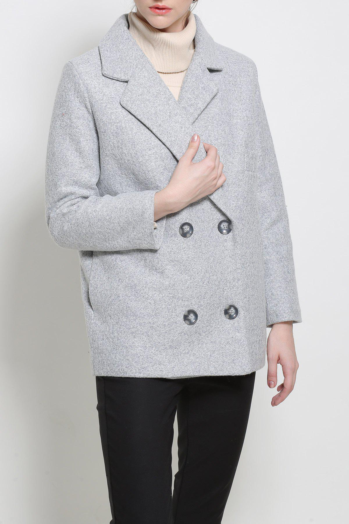 Lapel Pea Coat In Wool Blend - LIGHT GRAY S