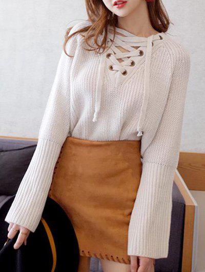 Batwing Sweater with Criss Cross Bandage - WHITE ONE SIZE
