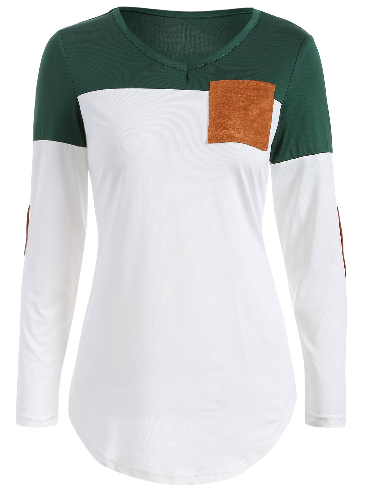 Color Block Elbow Sleeve T Shirt - BLACKISH GREEN M