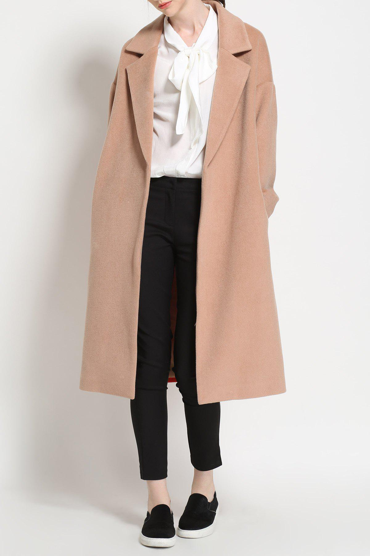 Maxi Open Front Wool Blend Coat - KHAKI M