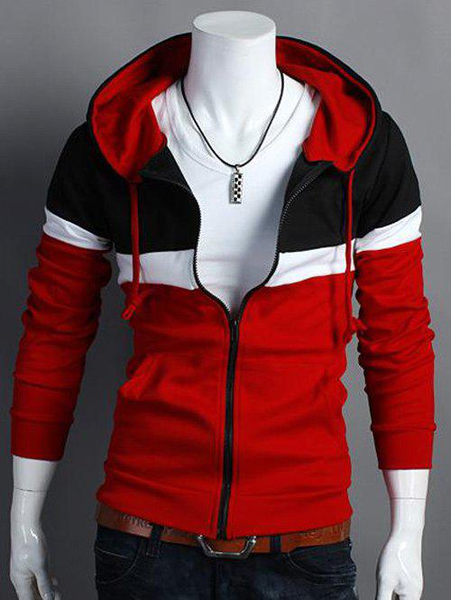 Color Block Hooded Zip Up Long Sleeve Hoodie - RED XL