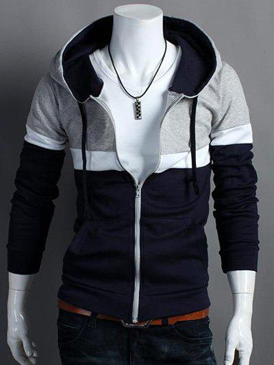 Color Block Hooded Zip Up Long Sleeve Hoodie - CADETBLUE 2XL