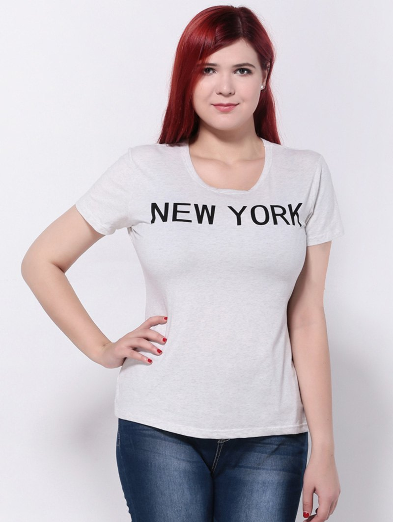 New york print slimming t shirt light gray xl in plus for New york printed t shirts