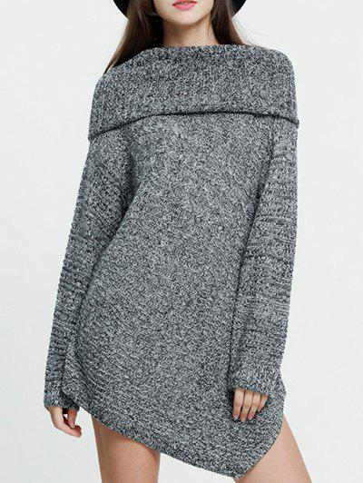 Foldover Sweater - GRAY S