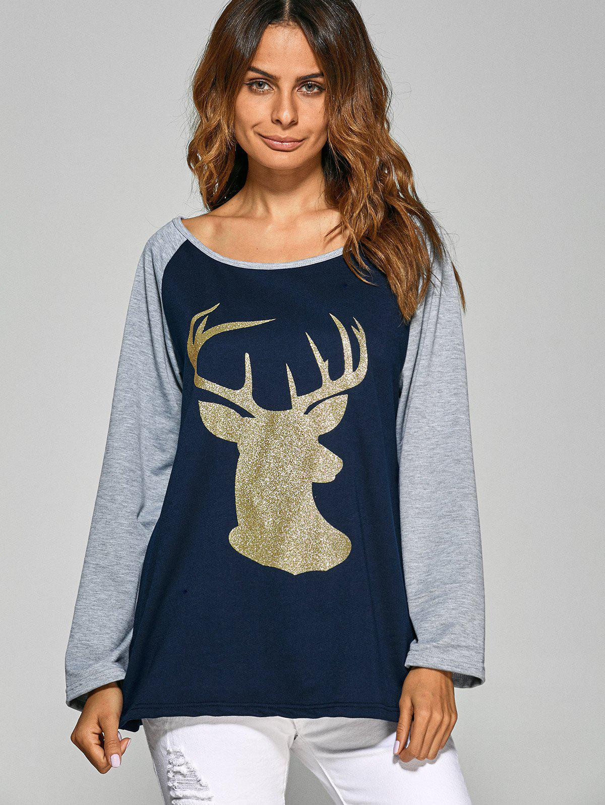 Christmas Deer Raglan Sleeve Tee - CADETBLUE L