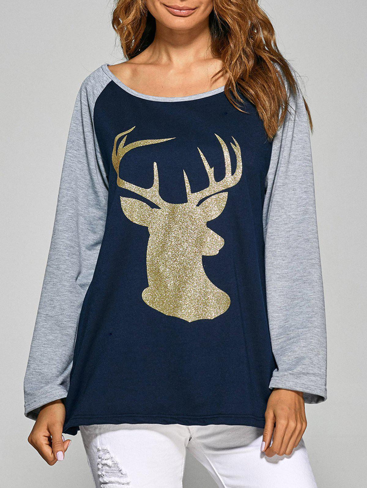 Christmas Deer Raglan Sleeve Tee - CADETBLUE XL
