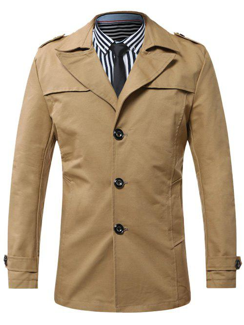 Epaulet Turn-Down Collar Single-Breasted CoatMen<br><br><br>Size: M<br>Color: KHAKI